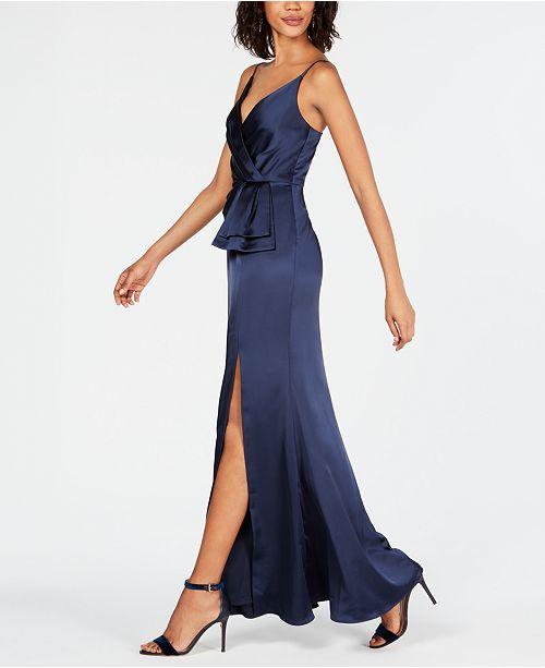 c5c4527c1fd Adrianna Papell Satin Faux-Wrap Gown & Reviews - Dresses - Women ...