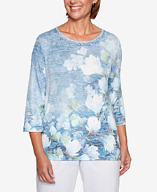 Alfred Dunner Greenwich Hills Embellished Floral Watercolor-Print Top