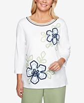 3c38cd96dd6 Alfred Dunner Greenwich Hills Ribbon-Flower Knit Top