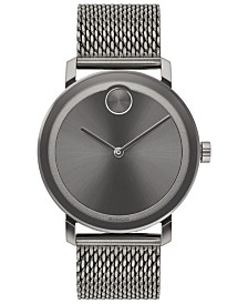 Movado Men's Swiss BOLD Evolution Gray Stainless Steel Mesh Bracelet Watch 40mm