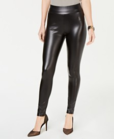 I.N.C. Shaping Faux-Leather Leggings, Created for Macy's
