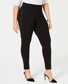 I.N.C. Shaping Plus-Size Studded Leggings, Created for Macy's