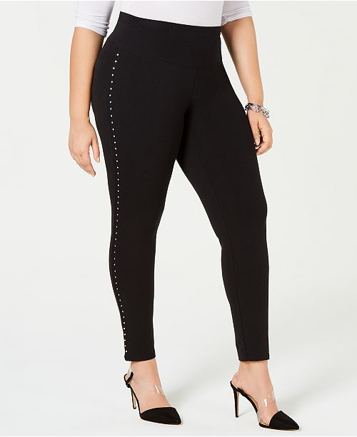 INC International Concepts I.N.C. Shaping Plus-Size Studded Leggings, Created for Macy's