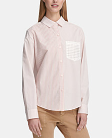 DKNY Long-Sleeve Striped Button-Up Shirt, Created for Macy's