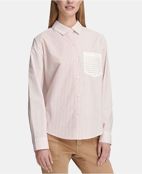 41d4fea0488422 DKNY Long-Sleeve Striped Button-Up Shirt   Reviews - Tops - Women ...