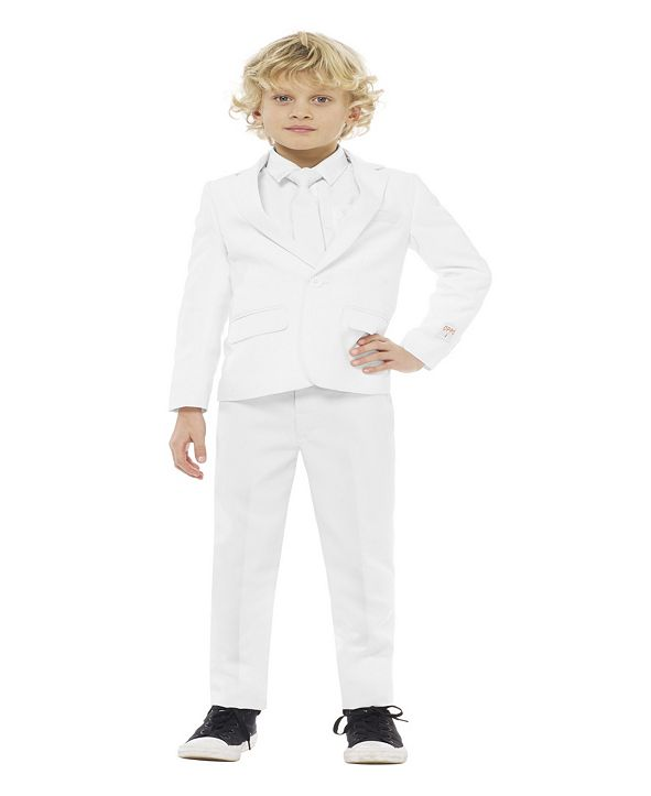 OppoSuits Boys White Knight Solid Suit