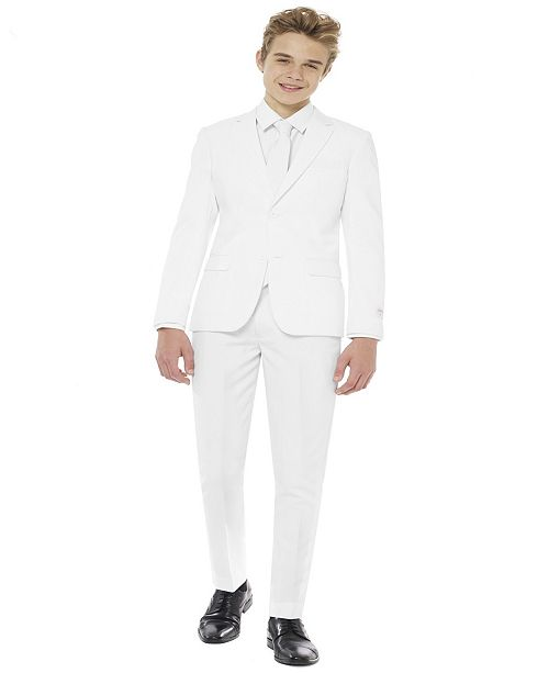 OppoSuits Teen Boys White Knight Solid Suit