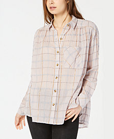Free People Break My Stride Metallic Plaid Tunic Button-Up Shirt