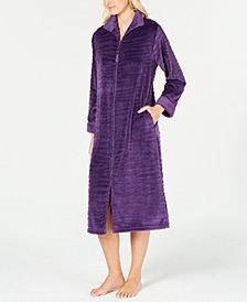 Miss Elaine Textured Fleece Long Zip Robe