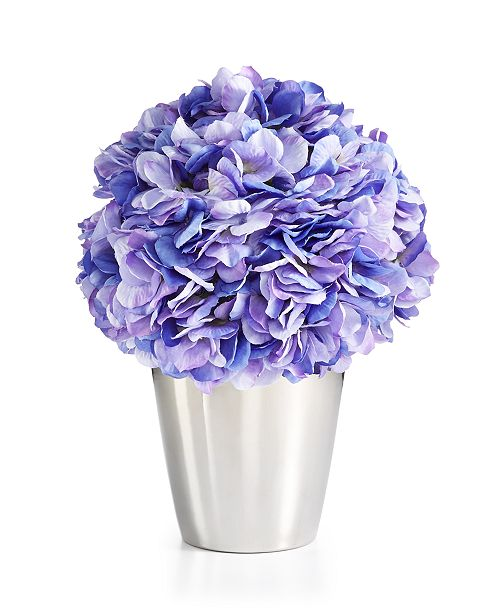 Martha Stewart Collection CLOSEOUT! Spring Blue Hydrangea Artificial Potted Floral Arrangement, Created for Macy's