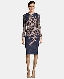 Xscape Floral-Embroidered Lace Dress