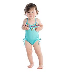 Masala Baby Baby Girl's Crossback Pom Pom One Piece