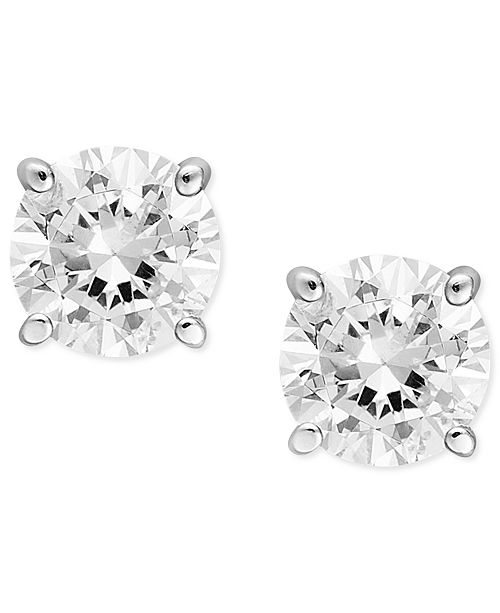 Diamond Stud Earrings 1 2 Ct T W In 14k White Gold