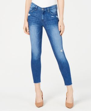 FLYING MONKEY Frayed Cropped Skinny Jeans in Bounce