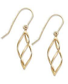 10k Gold Earrings, Spiral Drop Earrings