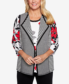 Alfred Dunner Petite Grand Boulevard Mixed-Print Vest