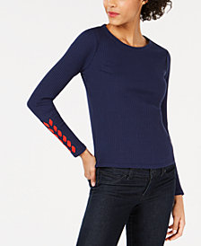 Maison Jules Ribbed Laced-Sleeve Top, Created for Macy's