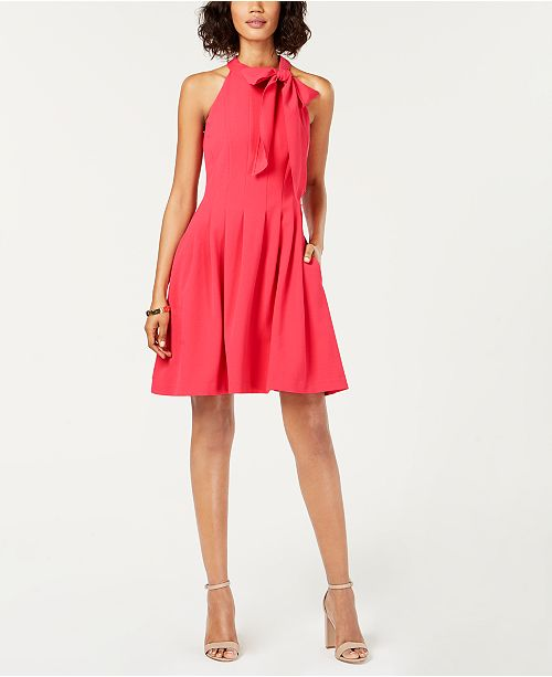 634a10306901 Vince Camuto Bow-Neck Fit   Flare Dress   Reviews - Dresses - Women ...