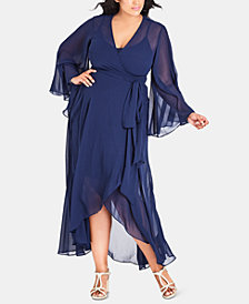 City Chic Trendy Plus Size Chiffon Wrap Dress