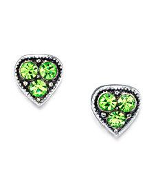 2028 Silver Tone Crystal Heart Stud Earrings