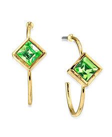 2028 14K Gold Dipped Diamond Shape Crystal Open Hoop Stainless Steel Post Earring