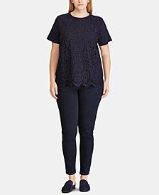 Lauren Ralph Lauren Plus Size Lace-Front T-Shirt