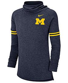 Nike Women's Michigan Wolverines Logo Funnel Neck Long Sleeve T-Shirt