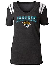 Women's Jacksonville Jaguars Shoulder Stripe Foil T-Shirt
