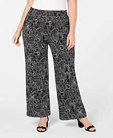 NY Collection Plus & Petite Plus Printed Soft Pants