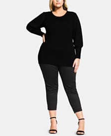 City Chic Trendy Plus Size Balloon-Sleeve Sweater