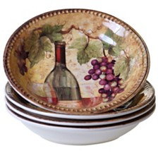 Certified International Gilded Wine 4-Pc. Soup/Pasta Bowl