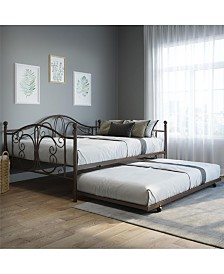 EveryRoom Bradford Full Full Metal Daybed and Twin Size Trundle