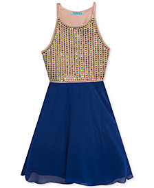 Rare Editions Big Girls Embellished-Bodice Chiffon Dress