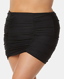 Raisins Curve Trendy Plus Size Juniors' Ruched Tummy-Control Swim Skirt