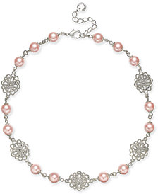 """Charter Club Silver-Tone Filigree & Imitation Pearl Collar Necklace, 17"""" + 2"""" extender, Created for Macy's"""