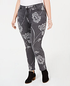 Style & Co Plus Size Printed Curvy Skinny Jeans, Created for Macy's