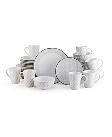 Avery Medley Gray 32 Piece Dinnerware Set, Service for 8