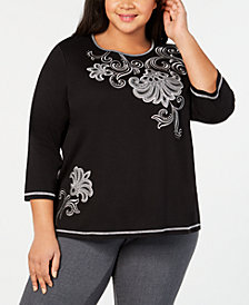 Alfred Dunner Plus Size Grand Boulevard Asymmetrical-Scroll Top