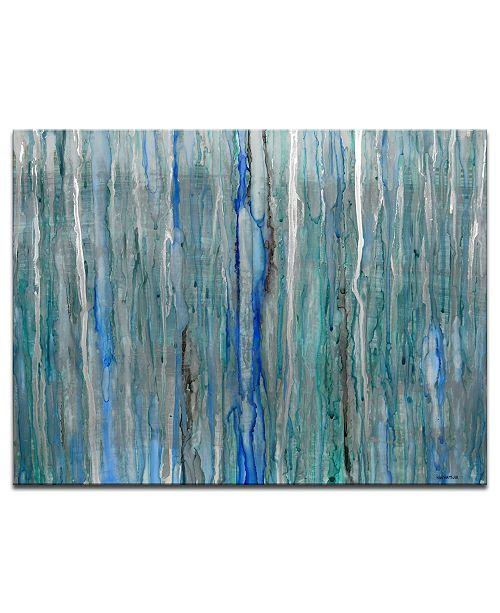 "Ready2HangArt 'Rain' Abstract Blue Canvas Wall Art, 20x30"""