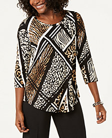 JM Collection Abstract Blooms Printed Top, Created for Macy's