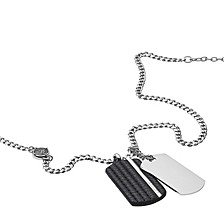 Men's Double Dog Tag Steel and Black Leather Pendant Necklace