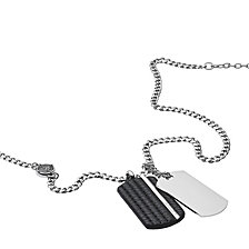 Diesel Men's Double Dog Tag Steel and Black Leather Pendant Necklace