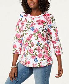 Karen Scott Petite Katie Bouquet Sweatshirt, Created for Macy's