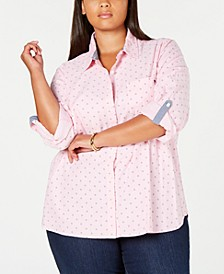 Plus Size Oxford Dot Roll Tab Top