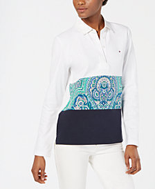 Tommy Hilfiger Colorblocked Long-Sleeve Polo Shirt, Created for Macy's