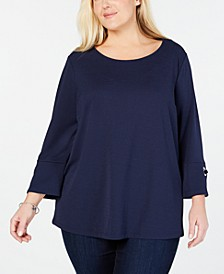 Plus Size Keyhole-Back Top