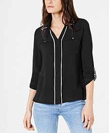 NY Collection Petite Piped-Trim Collared Shirt