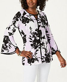 JM Collection Printed Tulip-Sleeve Top
