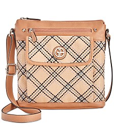 Giani Bernini Straw Plaid Crossbody, Created for Macy's