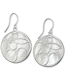 Mother-of-Pearl Decorated Drop Earrings in Sterling Silver